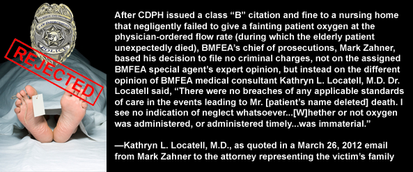California DOJ Bureau of Medi-Cal Fraud and Elder Abuse (BMFEA) chief of prosecutions, Mark Zahner, files no criminal charges after Dr. Kathryn Locatell protects nursing home