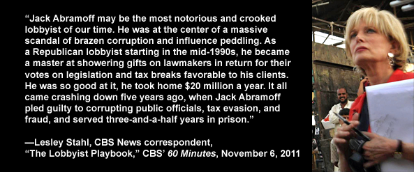 CBS News correspondent Lesley Stahl on corruption of public officials by lobbyist Jack Abramoff