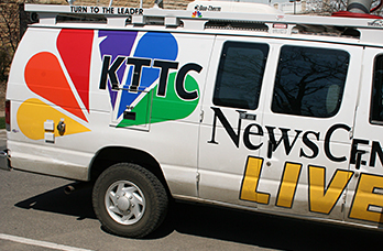 Outside broadcasting (OB) van for NBC-affiliated television station KTTC